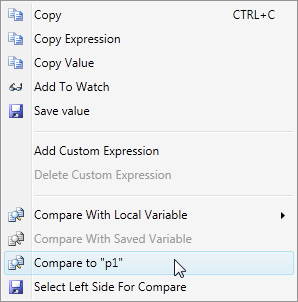 Context menu commands for comparison