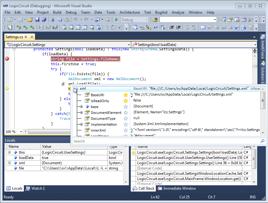 Popup BugAid object inspector in Visual Studio 2010