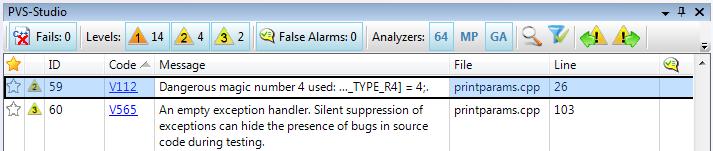PVS-Studio analysis results tool window in Visual Studio 2008