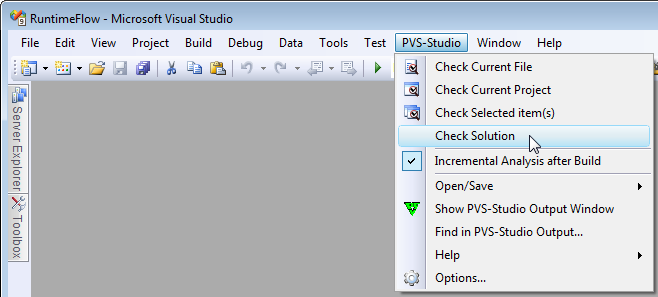PVS-Studio menu in Visual Studio 2008