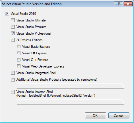 Select Visual Studio Version and Edition dialog in Visual Studio 2010