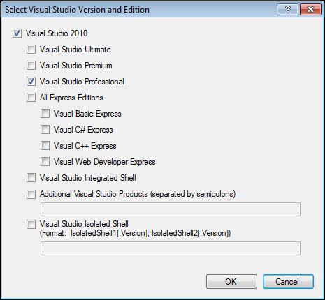 Select Visual Studio Version and Edition dialog in Visual Studio 2010