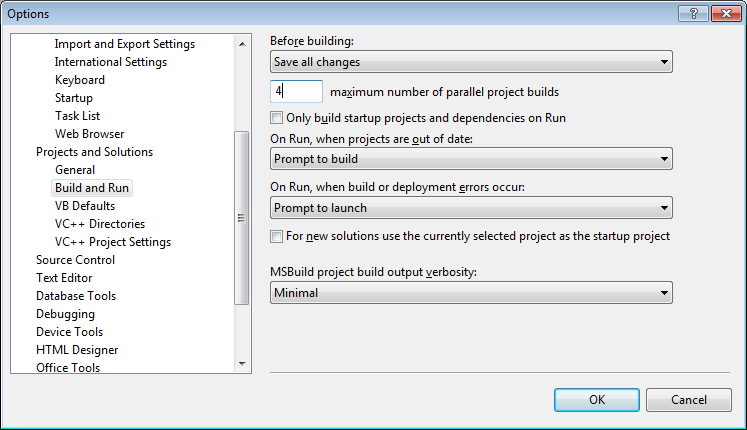 The maximum number of parallel project builds option