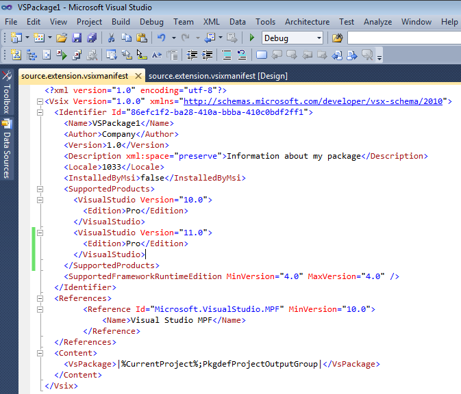 Visual Studio extension manifest with both Visual Studio 2010 and Visual Studio 11 support