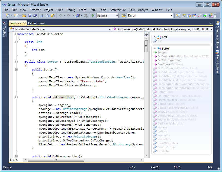 Code Jumper's navigation panel to the right of the open document in Visual Studio 2010