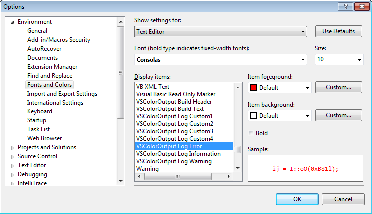 Color settings for different output line types