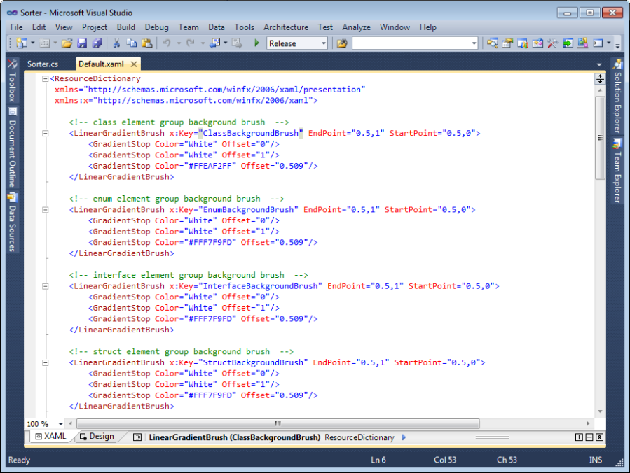 Default.xaml customization in Visual Studio 2010 editor