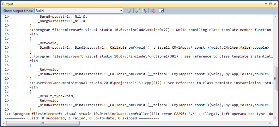 Template instantiations log
