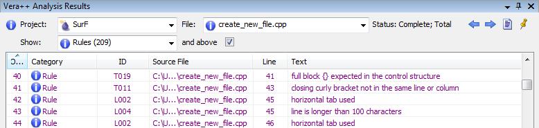 Vera++ formatting analysis results