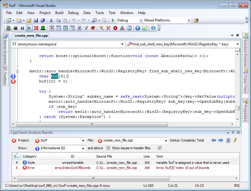 Visual Lint static C++ code analysis adapter for Visual Studio ...