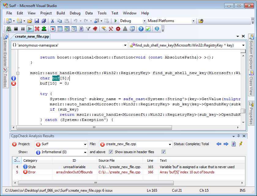 Visual Lint shows CppCheck analysis results in Visual Studio 2008