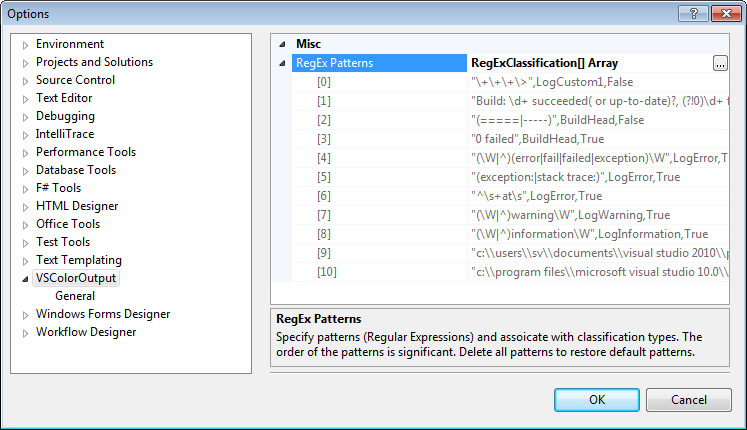 VSColorOutput settings in the Visual Studio Options dialog