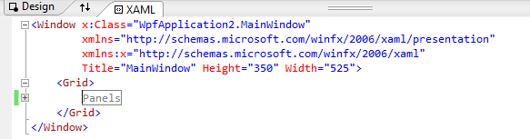 Collapsed region in XAML editor