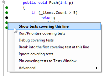 Context menu commands for a line of code covered by tests