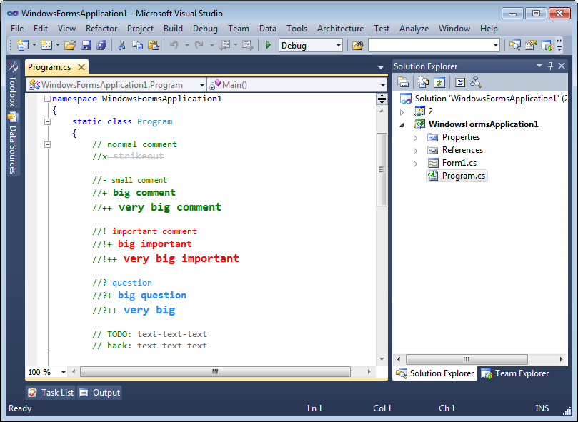 Different comment styles in Visual Studio 2010