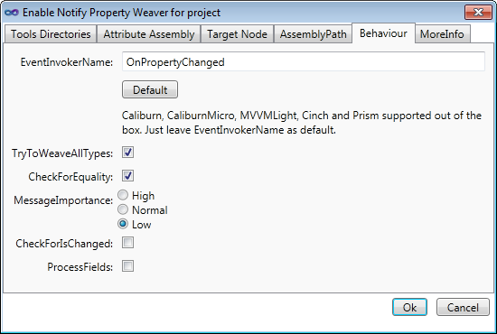 Notify Property Weaver behavior options