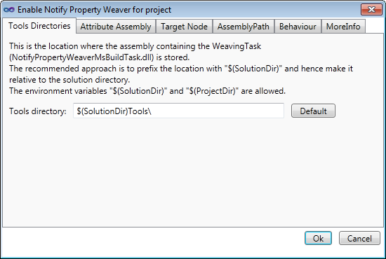 Notify Property Weaver configuration dialog