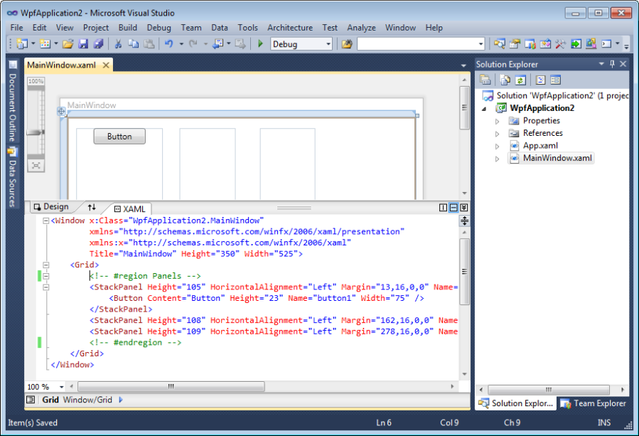 Region definition in comments for XAML editor in Visual Studio 2010