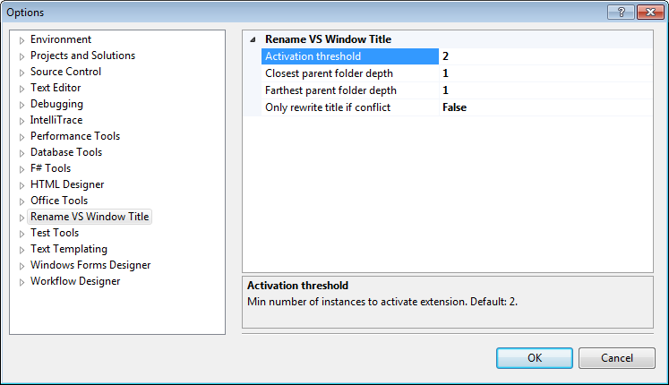 Rename Visual Studio Window Title options