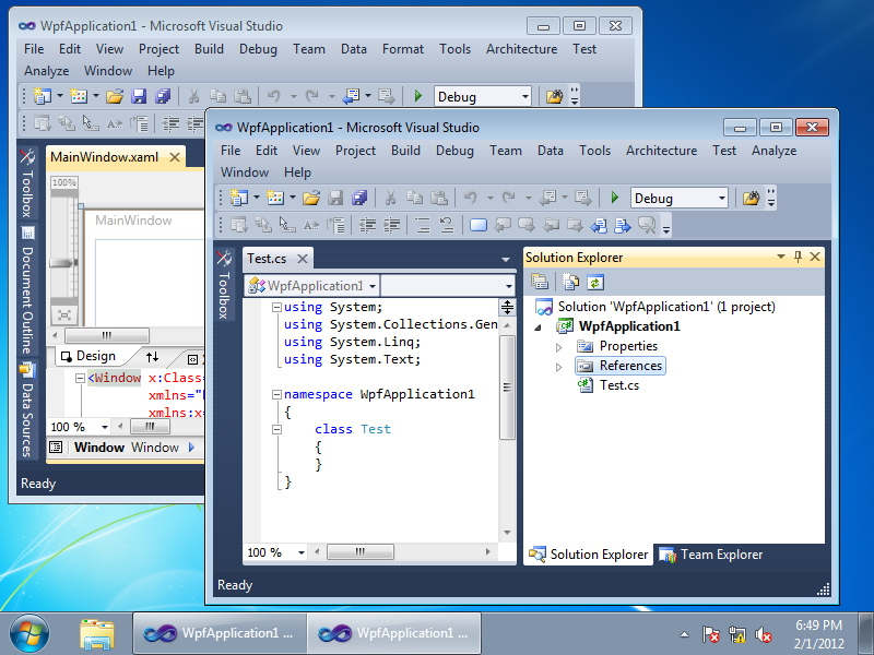Two WpfApplication1 solutions in Visual Studio