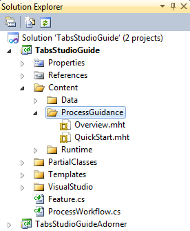 Documentation files in the guide solution