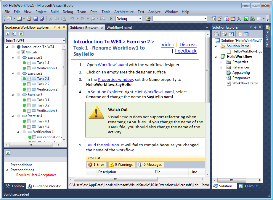 Hands On Lab content in Visual Studio 2010