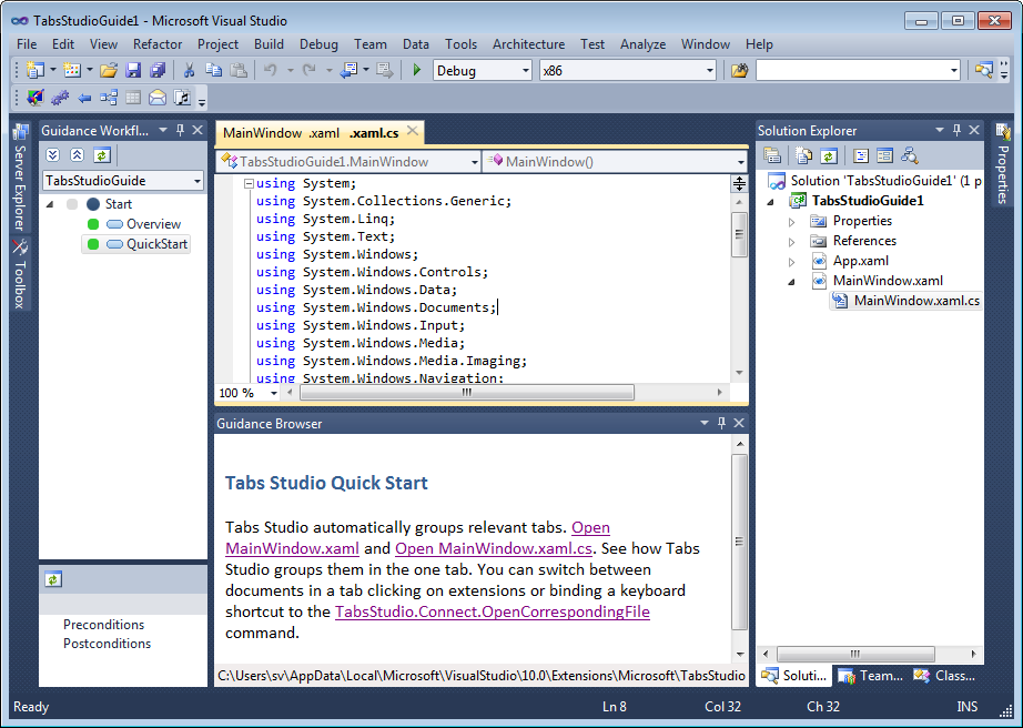 Tabs Studio Guide opened in Visual Studio 2010