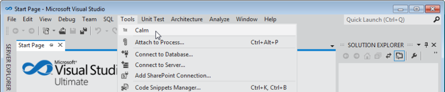The Calm command in the Visual Studio Tools menu