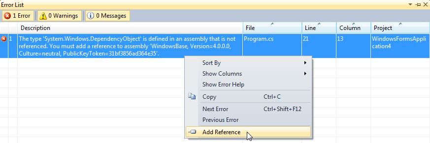 Add reference menu item in the build error description context menu