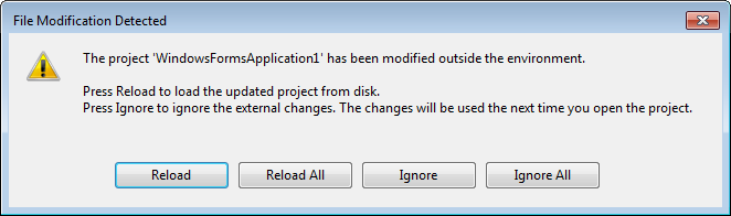 Project modification outside the environment detected by Visual Studio