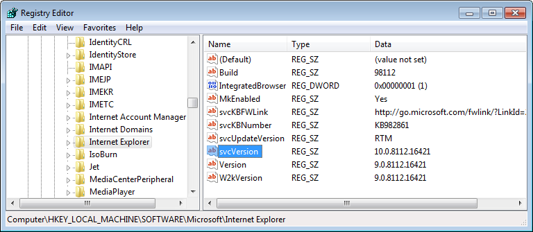 Changing IE9 to IE10 for VS 2013 installer