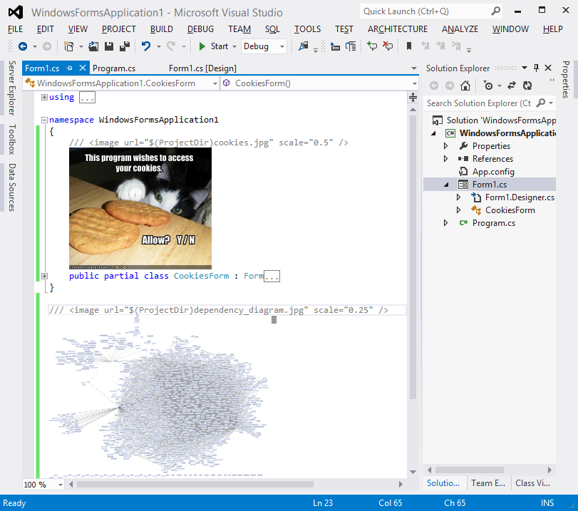 Images in code (Visual Studio 2012 with ImageComments)