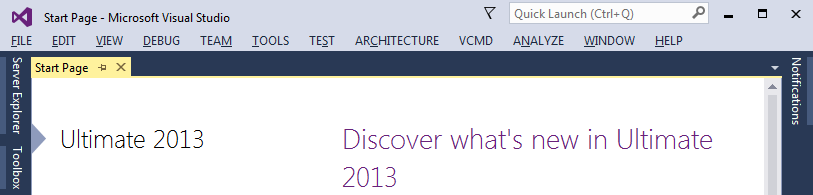 Hidden Feedback and Sign in buttons in the main Visual Studio 2013 window
