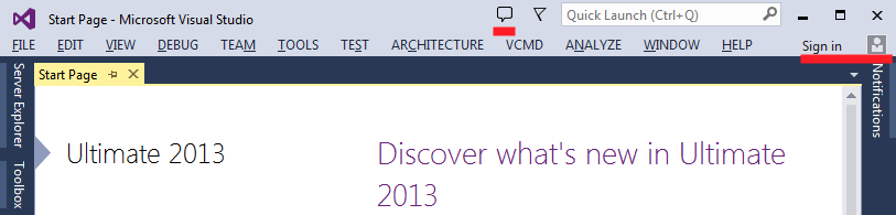 Feedback and Sign in buttons in the main Visual Studio 2013 window