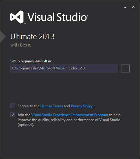 The first VS 2013 setup dialog after IE10 registry check