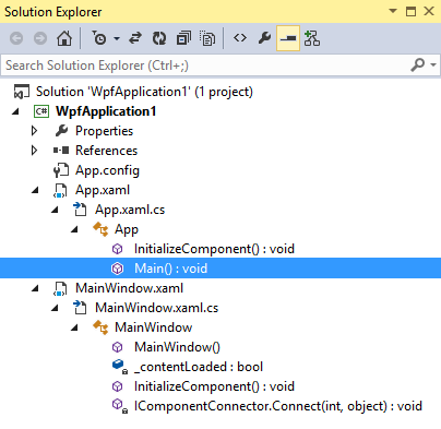 Classes and methods in Visual Studio 2013 Solution Explorer