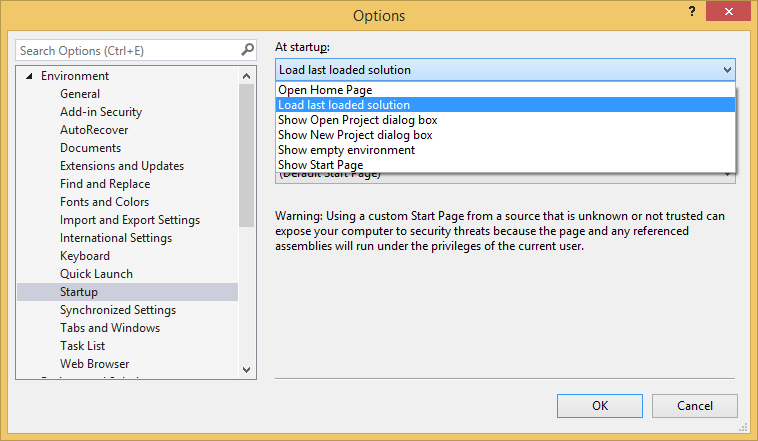 "The ""Load last loaded solution"" option for Visual Studio startup"