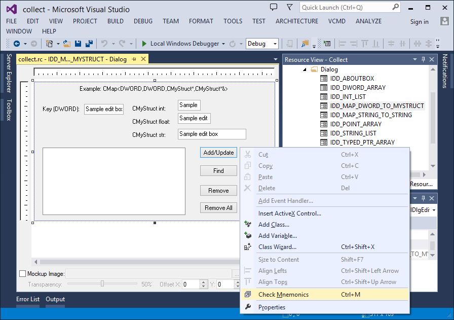 Check Mnemonics command for native dialog designer in Visual Studio 2013