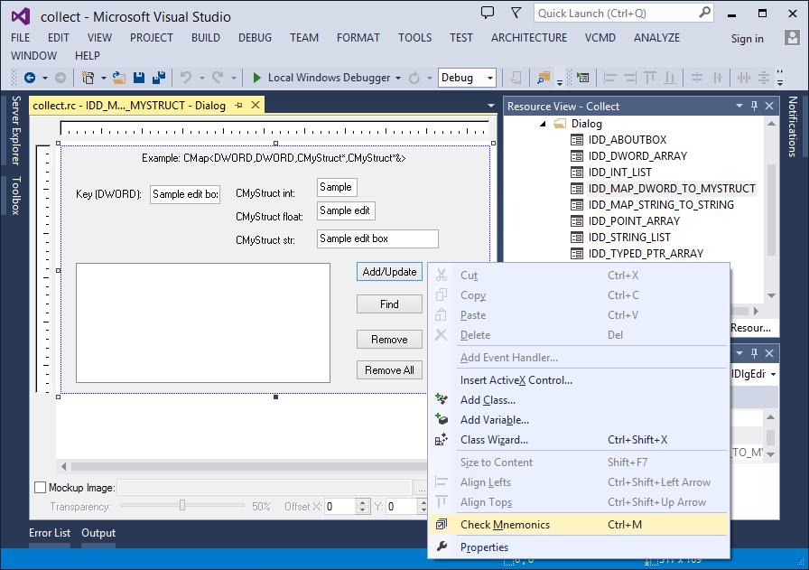 Check Mnemonics command for native dialog designer in Visual Studio 2013