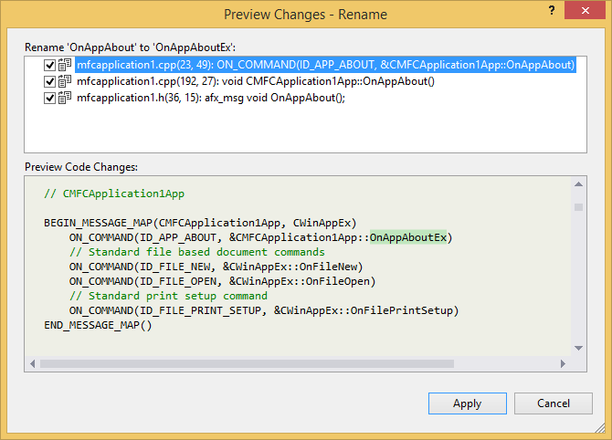 Preview changes dialog in Visual Studio 2013