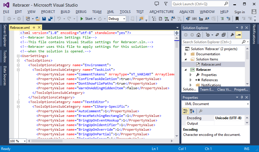 Saved code formatting options by Rebracer in Visual Studio 2013