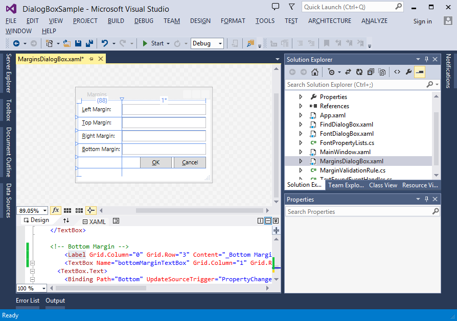WPF dialog designer in Visual Studio 2013