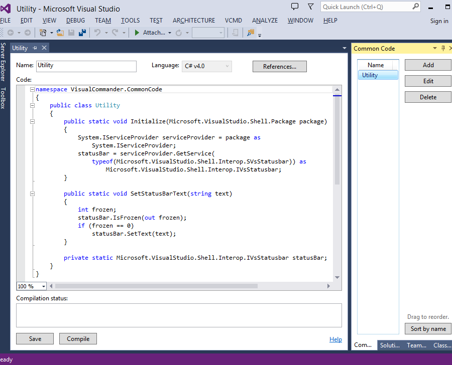 A common code module in Visual Studio 2013
