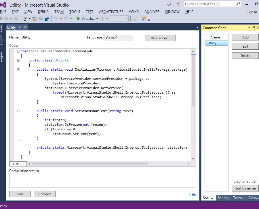 A common code module in Visual Studio 2013