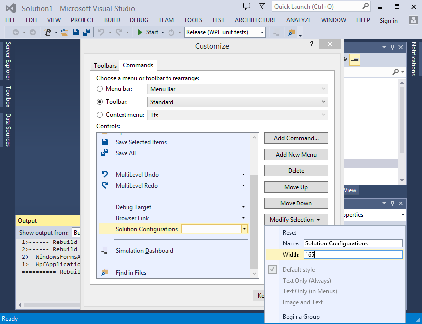 Toolbar element width customization in Visual Studio 2013