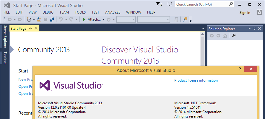 Visual Studio Community 2013 about