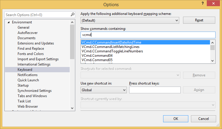 Friendly command names for keyboard bindings