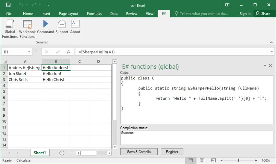 Writing custom excel worksheet functions in c#