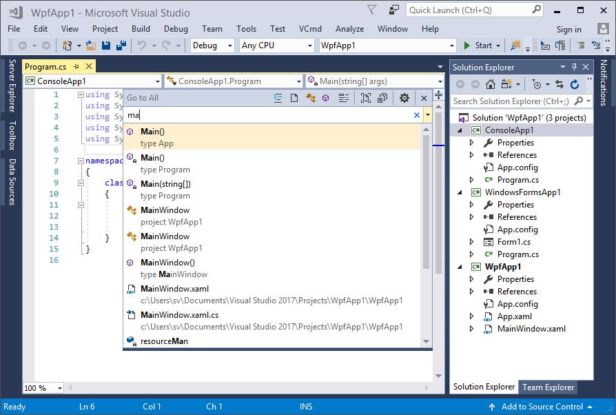 New code navigation shortcuts in Visual Studio 2017 | Making Visual