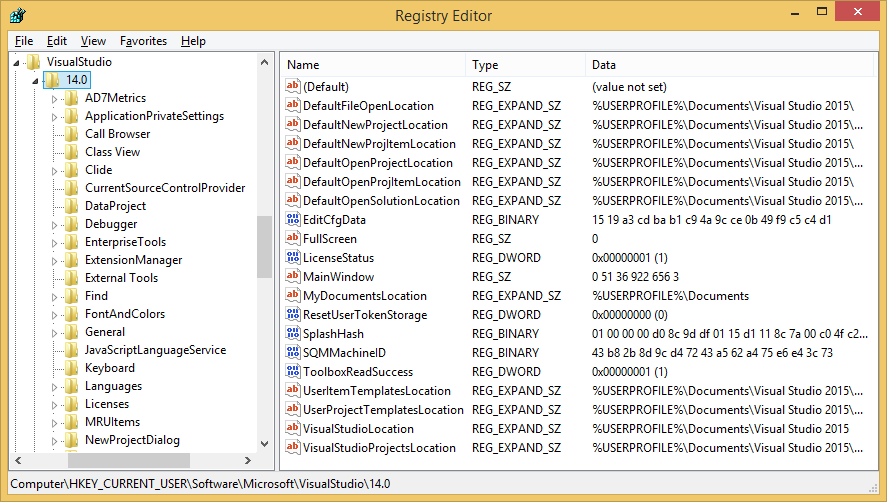 Visual Studio 2015 registry settings